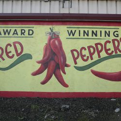 Unique mural of red peppers from our custom sign makers