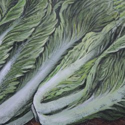 Custom painted mural of green romaine lettuce