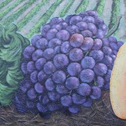 Custom painted mural of peppers, purple grapes, and green lettuce