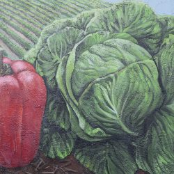 Custom painted mural of lettuce and peppers