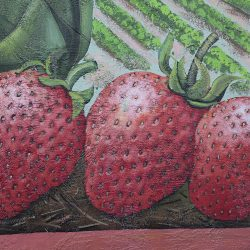 Custom mural sign of red strawberries