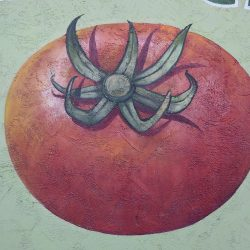 Custom painted mural of a tomato