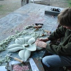 Crafting flowers for Stone Creek Nails' custom sign