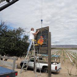 Custom business sign installation of Hahn Vineyards
