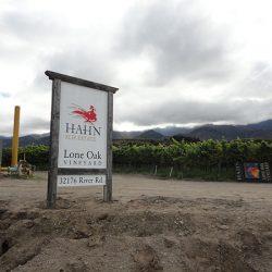 View of the custom vineyard sign for Hahn Estates