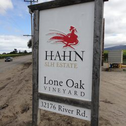 Perfect angle of the custom business sign for Hahn Estates Lone Oak Vineyard