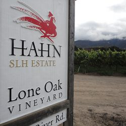 Close up of the custom vineyard sign for Hahn Estates Lone Oak Vineyard