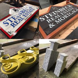 Collage image of wooden signs
