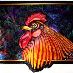 Showing off a custom sign featuring a rooster