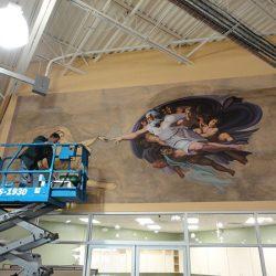 Creating the Creation of Adam custom wall mural