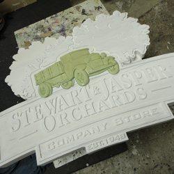 Building the custom business sign for Stewart & Jasper Orchards