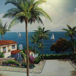 Custom wall mural of paradise