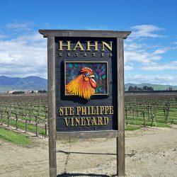 Our custom sign for Hahn Estates' Ste Philippe Vinyard