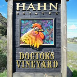 A closer look at the custom sign for Hahn Estates' Doctors' Vineyard