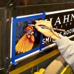 Making the custom sign for Hahn Estates