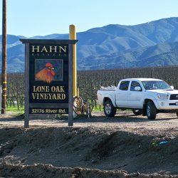 The custom winery sign for Hahn Estates' Lone Oak Vinyard