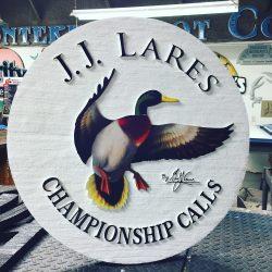 J.J. Lares custom signage in production