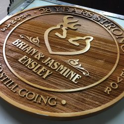 Wooden anniversary sign made by Signs by Van