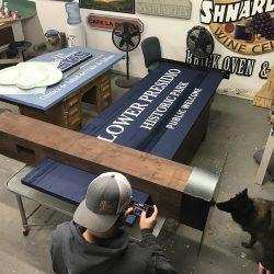 Lower Presidio custom sign in the making