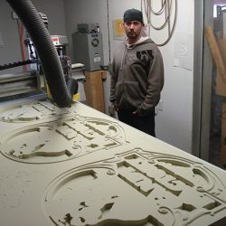 Creating the custom sign for the Candy Factory