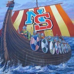 Custom wall mural of vikings sailing to victory