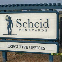 Custom vineyard sign for Scheid Vineyards