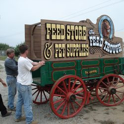 Placing the Feed Trough's custom sign
