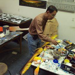 Making the custom sign for Monterey Bay Kayaks