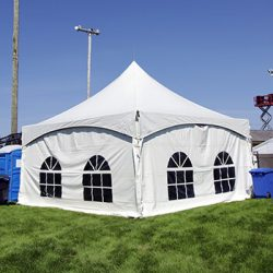 Square tent rental with side walls - Skyline Event Rentals