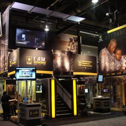 yellow and black US army exhibition booth