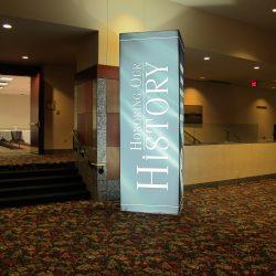 A light-up standing banner built by Skyline E3.