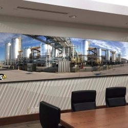 An office design with large hanging sign from Skyline E3