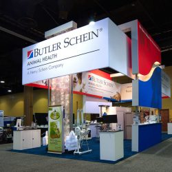 Red white and blue exhibition booth