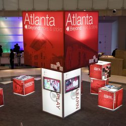 Red and white event exhibition booth design from Skyline E3.