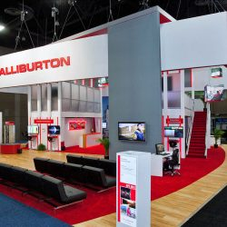 White and red booth designed for a trade show