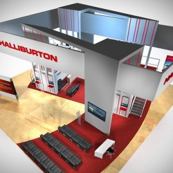 Silver and red trade show booth with carpeting and wood floors