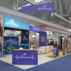 Purple trade show display with display banners