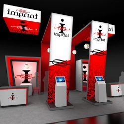 Trade show exhibit with vertical banners and signs