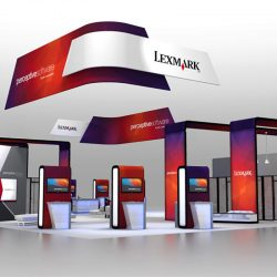 Orange, purple, red, and white trade show booth with standing and hanging banners