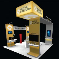 Yellow and silver exhibition booth