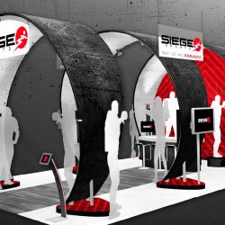 Circular black and red exhibition booth