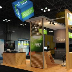 Wood-colored island trade show display
