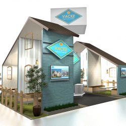 Trade show booth that looks like a teal house
