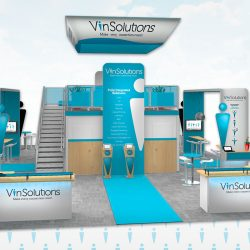 Teal and silver trade show booth with standing banners