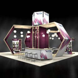 Geometric purple and white trade show display with banners