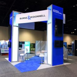 Blue and white island-style trade show display