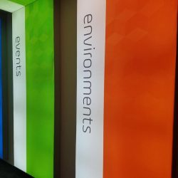 Multi-colored, lighted exhibit banners at Skyline E3.