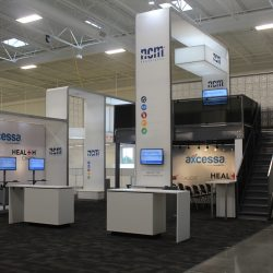 Large trade show booth display with stairs
