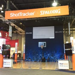 A basketball hoop and trade show display from Skyline E3.