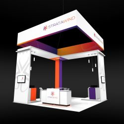 Large white, orange, and purple island trade show booth